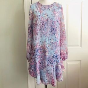 BCBG Max Azria Kalen Print Uneven Hem Dress XS